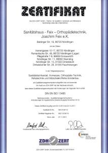 Zertifikat DIN EN ISO 13485:2012